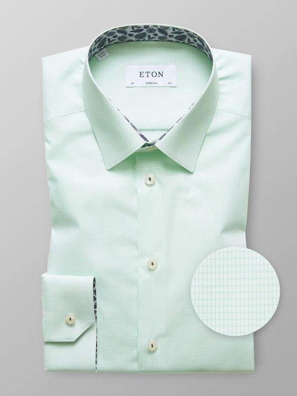 Green Check Shirt - Palm Print Details