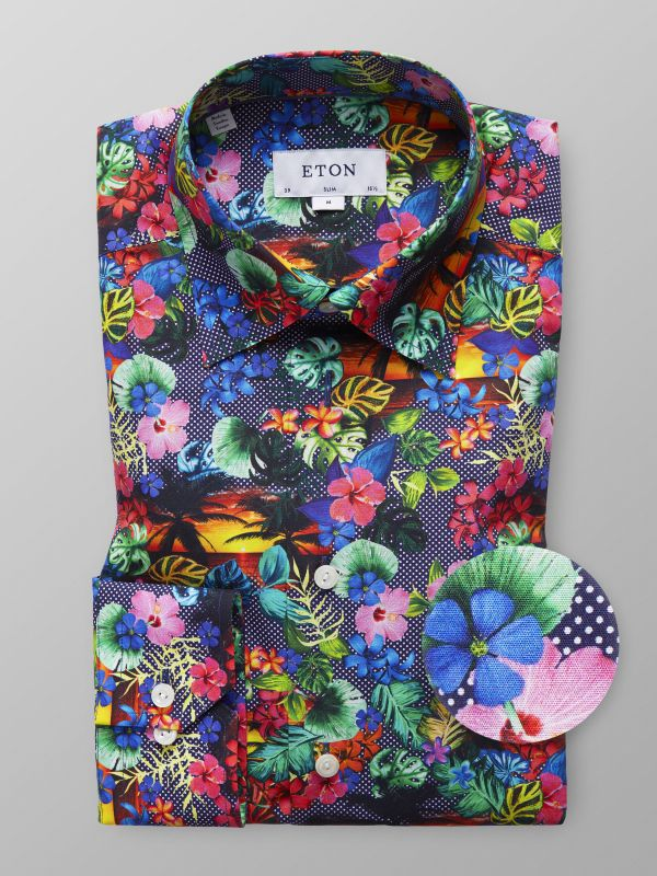 Hawaii Print Button-Under Shirt