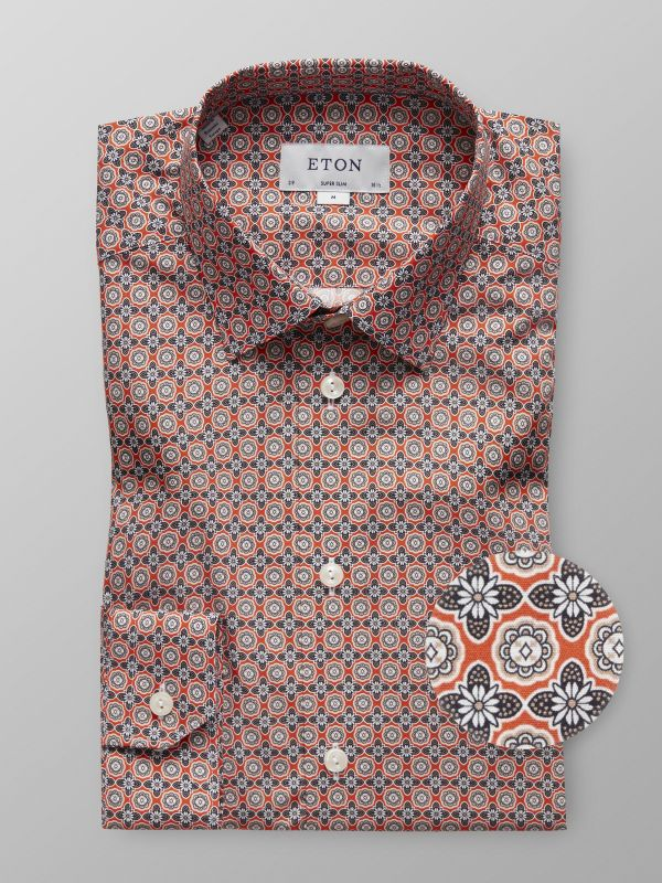 Orange Floral Button Under Shirt