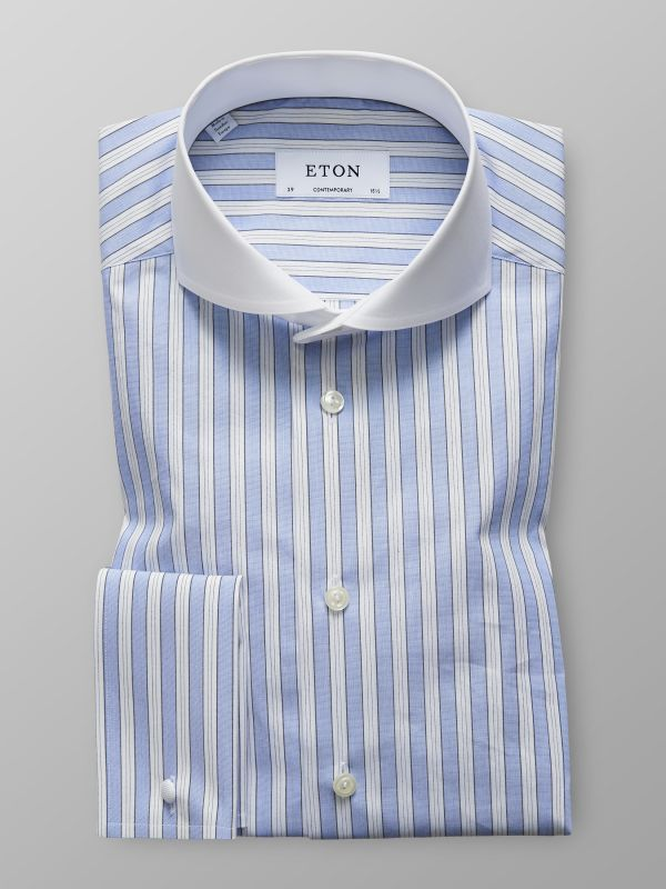 Light Blue Striped French Cuff Shirt