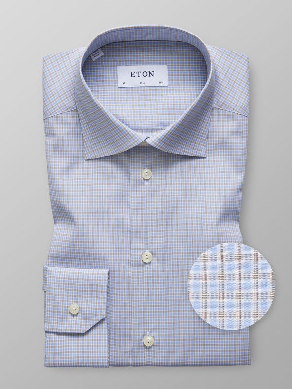 Beige & Blue Check Shirt