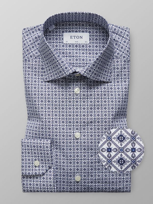 Blue Medallion Print Shirt