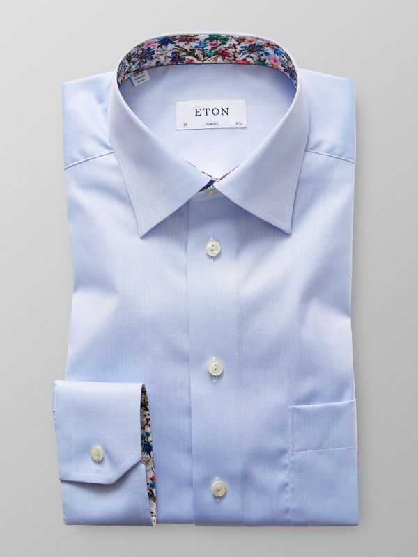 Light Blue Solid Twill Shirt With Contrast Trim