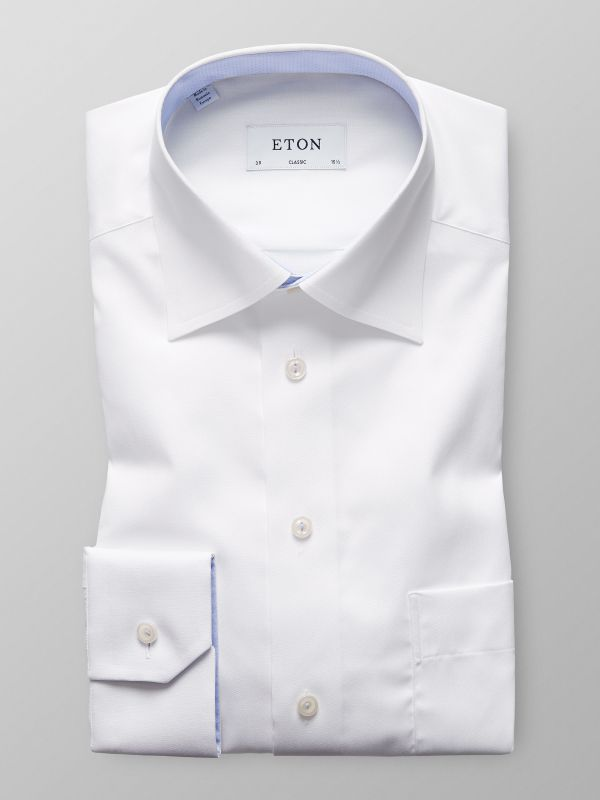 White Solid Twill Shirt With Contrast Trim