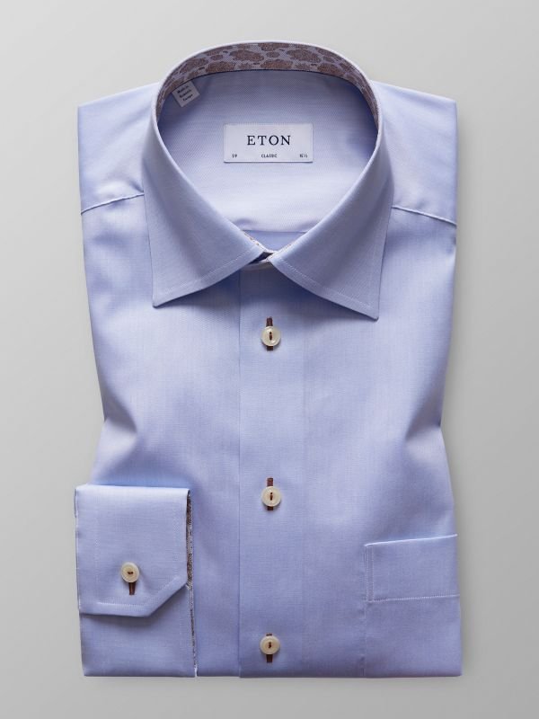 Light Blue Twill Shirt With Contrast Trim