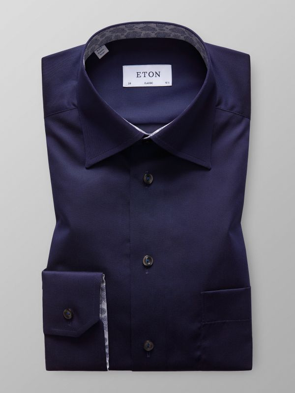 Navy Twill Shirt With Contrast Trim