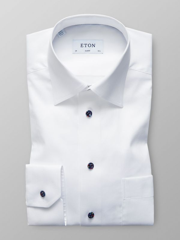 White Dotted Buttons Shirt