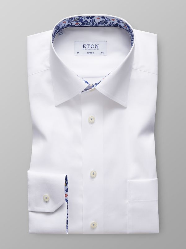 White Twill Shirt - Floral Details