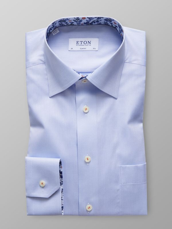 Sky Blue Twill Shirt - Floral Details