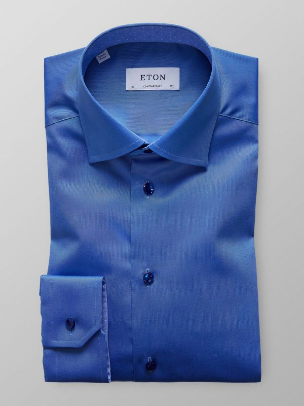 Dark Blue Twill Shirt With Contrast Trim