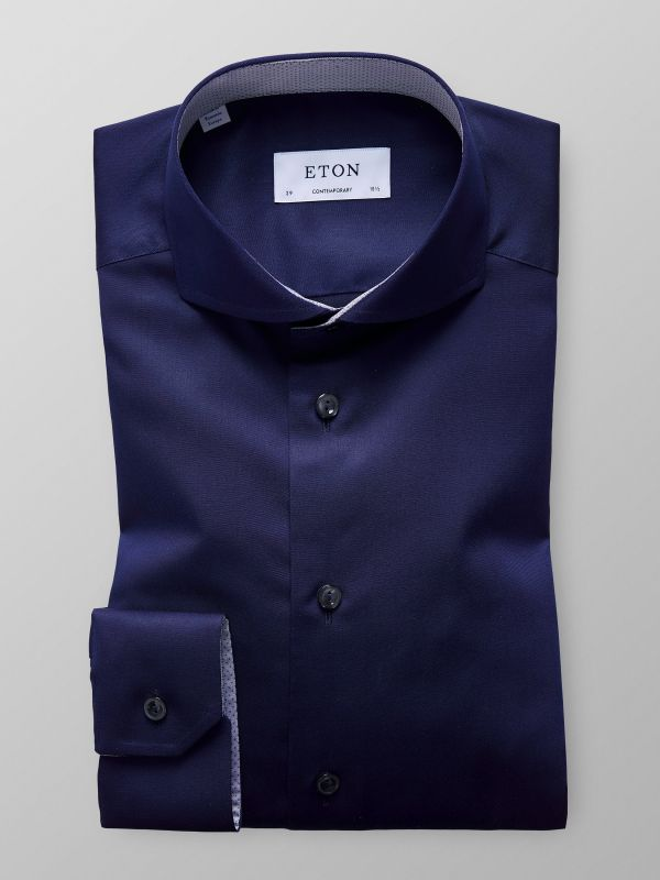 Navy Solid Twill Shirt With Contrast Trim