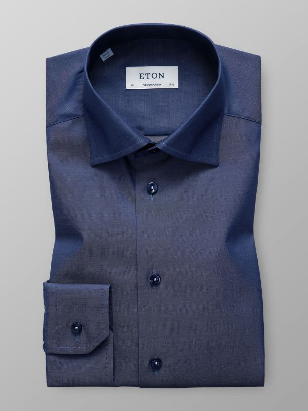 Navy Twill Shirt With Trim Details