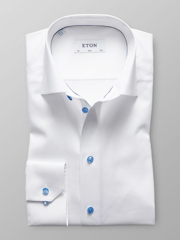 White Twill Shirt With Blue Details