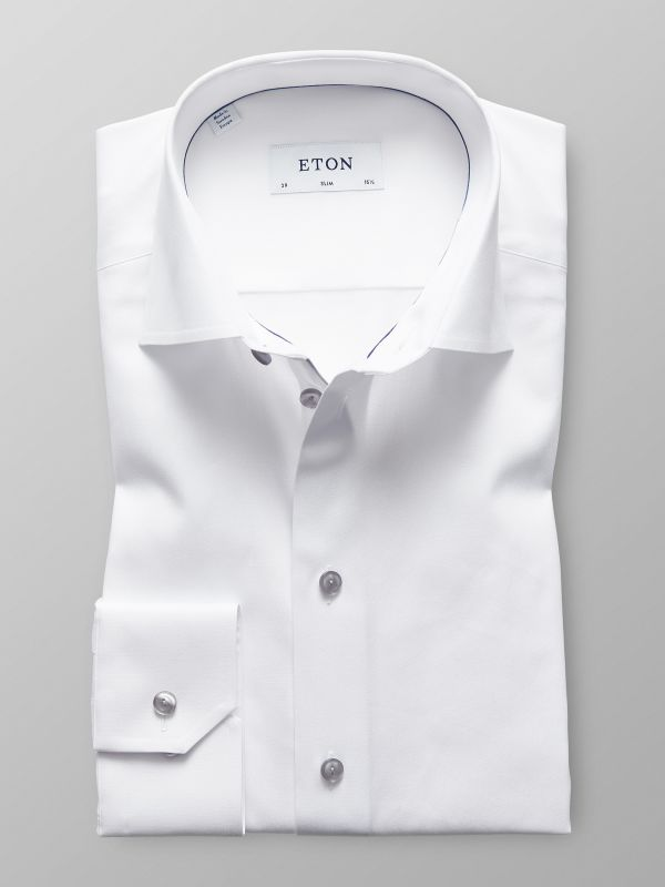 White Twill Shirt With Grey Details