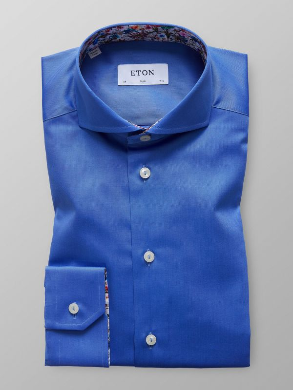Blue Twill Shirt With Contrast trim