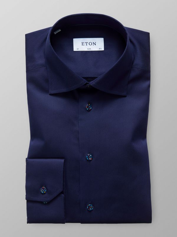Navy Dotted Buttons Shirt