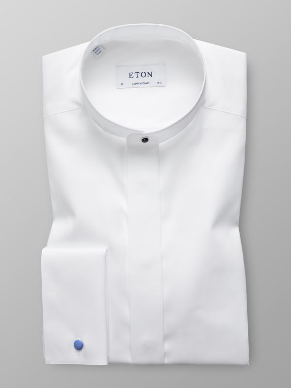 White Evening Shirt With Banded Collar