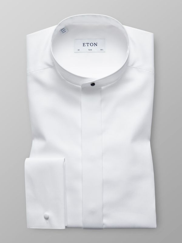 White Evening Shirt With Mao Collar