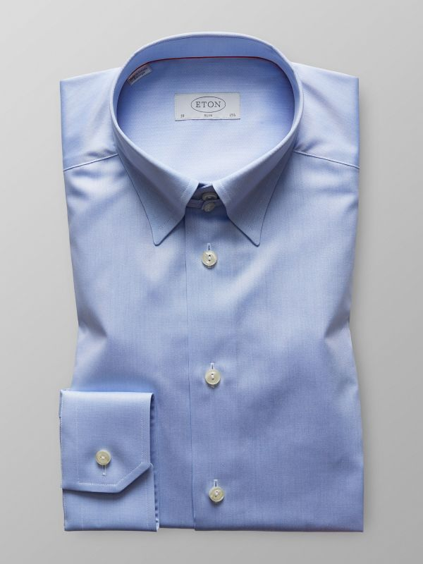 Blue Twill Shirt With Tab Collar