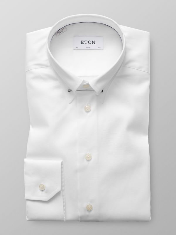 White Pointed Pin Collar Shirt