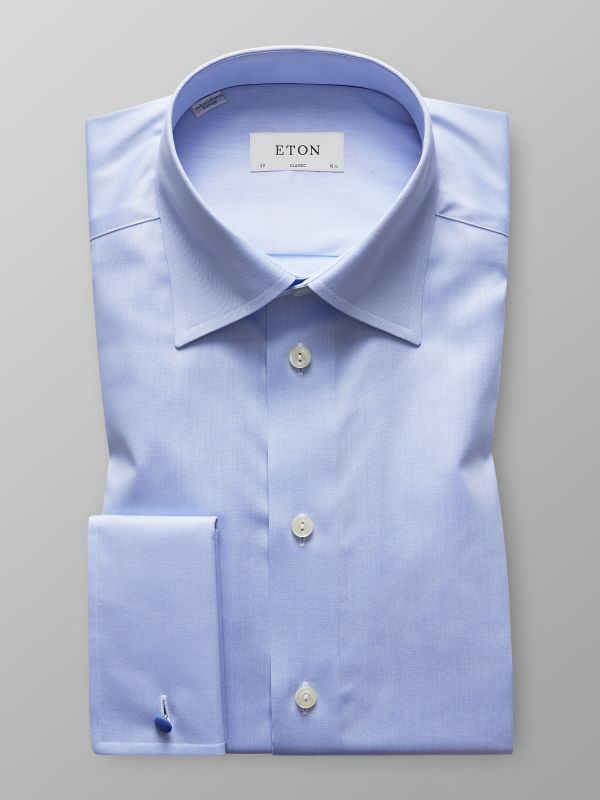 Blue Twill Shirt With French Cuffs