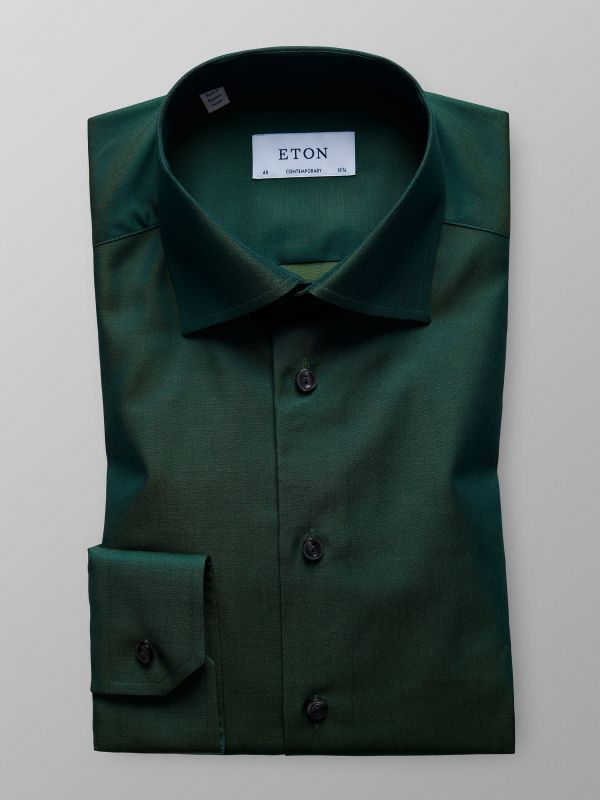 Green Twill Shirt With Contrast trim