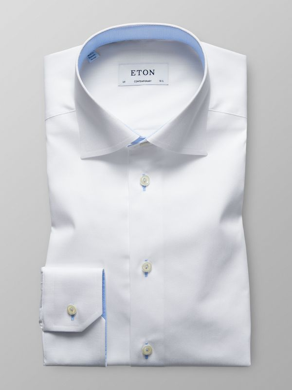 White Twill Shirt With Trim Details