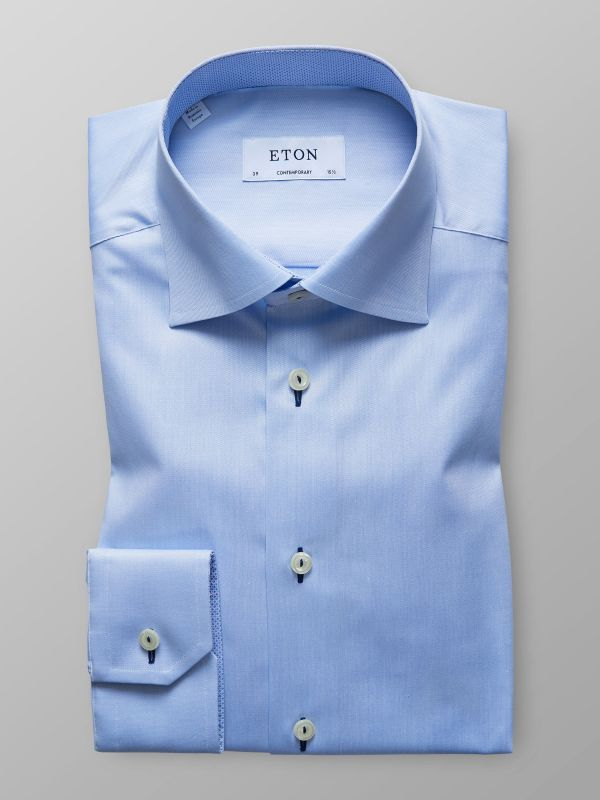 Blue Twill Shirt With Trim Details