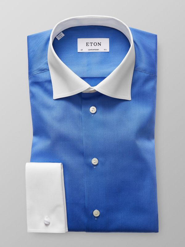 Blue Contrast Collar Shirt
