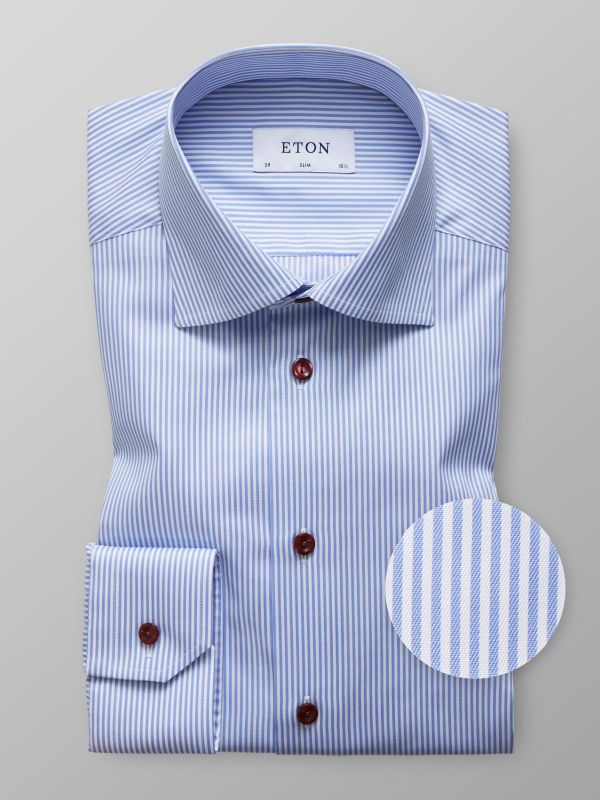 Blue Striped Twill Shirt with Details