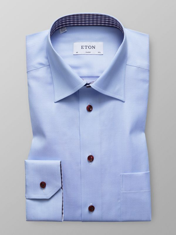 Blue Herringbone Shirt with Details