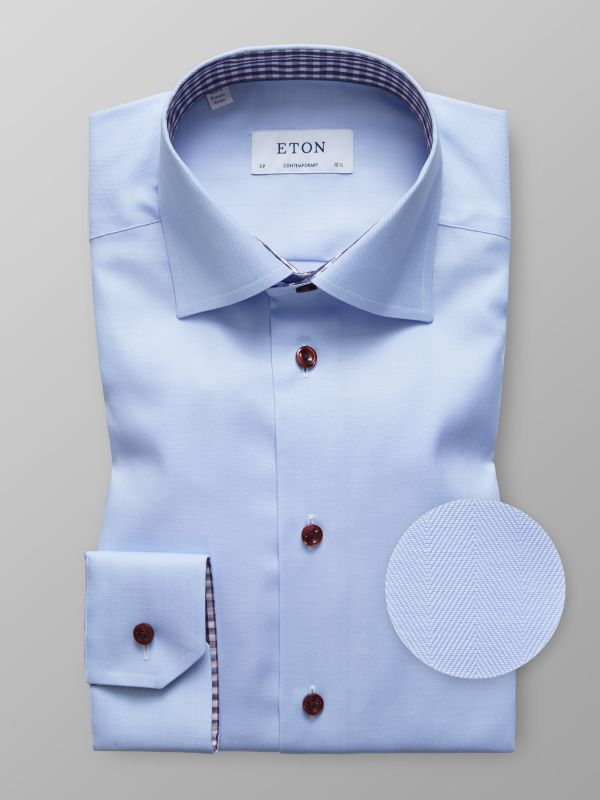 Blue Herringbone Shirt With Trim Details