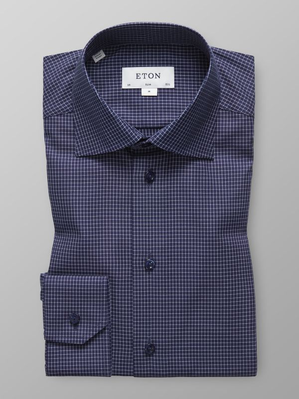 Navy Fine Check Shirt