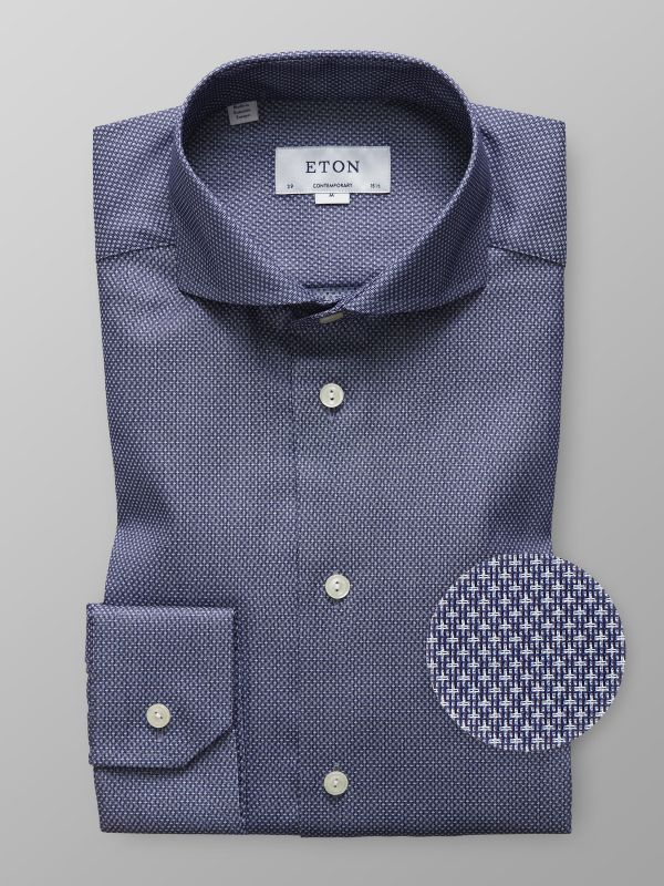 Blue Geometric Twill Shirt