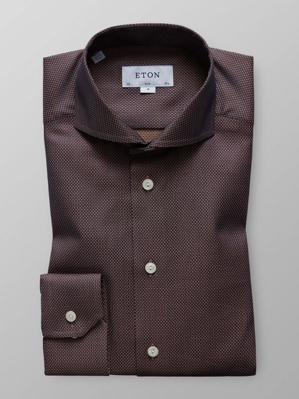 Brown Geometric Twill Shirt