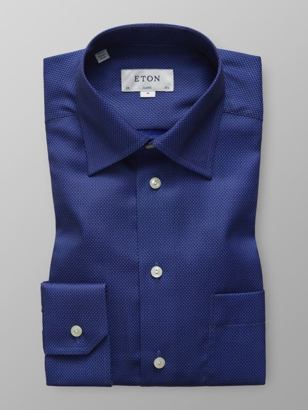 Navy Geometric Twill Shirt