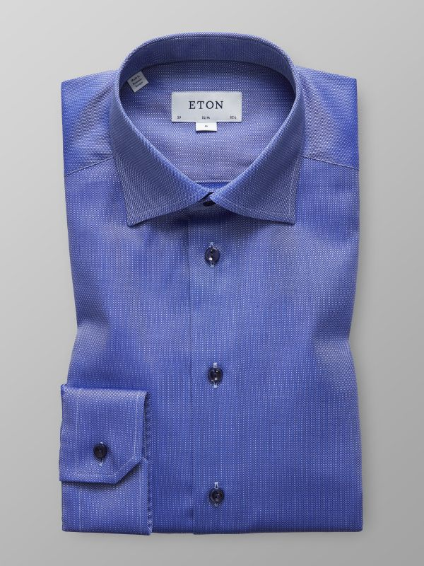 Blue Twill Shirt - Navy Buttons