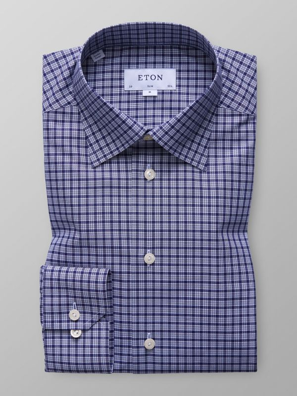 Navy Check Button-Under Shirt