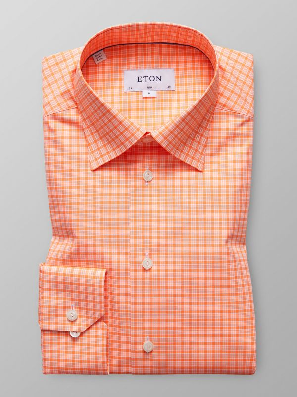 Orange Check Button-Under Shirt