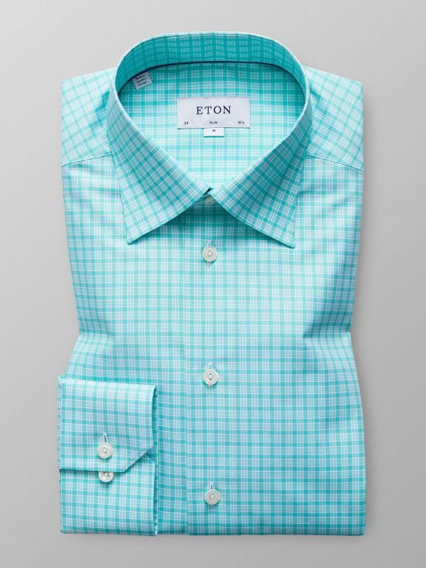 Green Check Button-Under Shirt