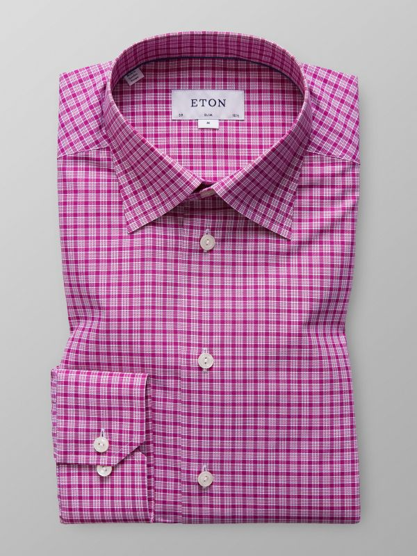 Purple Check Button-Under Shirt