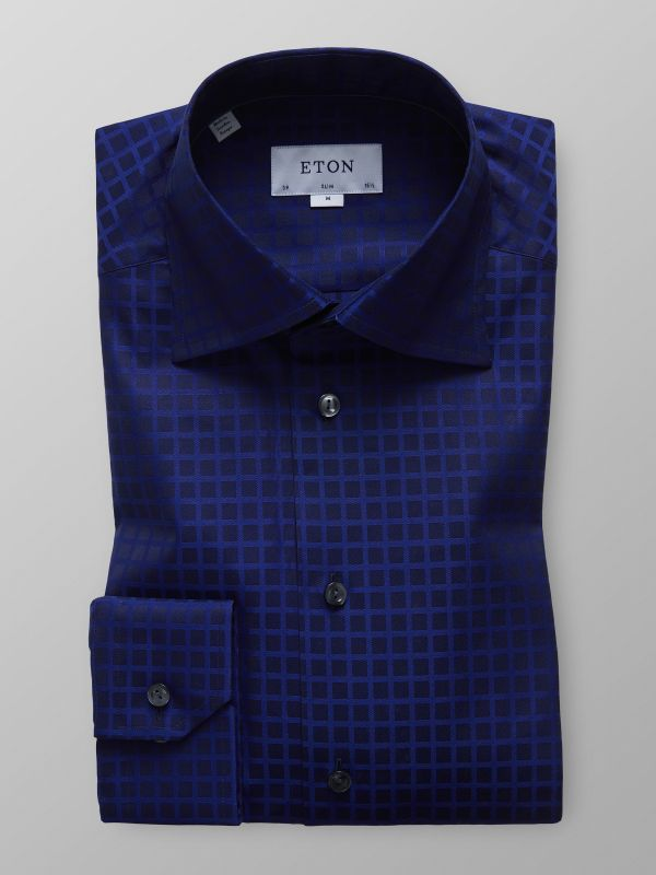 Navy Check Twill Shirt