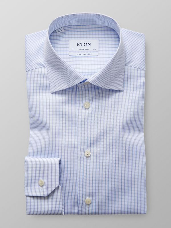 Light Blue Check Extra Long Sleeve Shirt