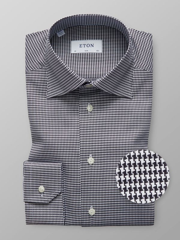 Black Houndstooth Twill Shirt