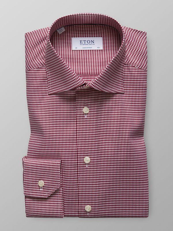 Burgundy Hounds Tooth Shirt