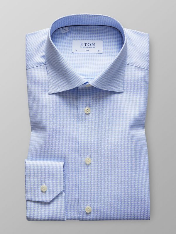 Sky Blue Hounds Tooth Shirt