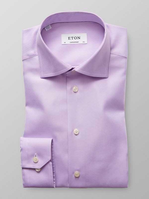 Purple Textured Twill Shirt