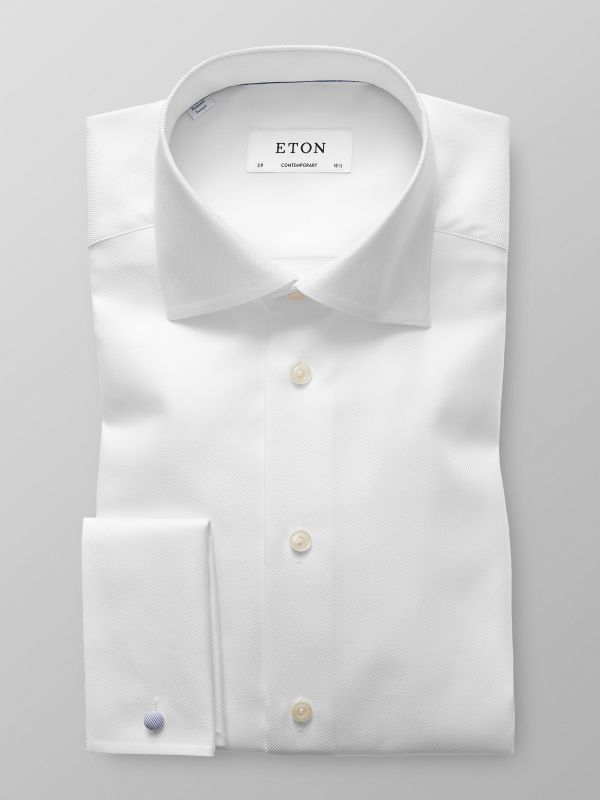 White Twill French Cuff Shirt