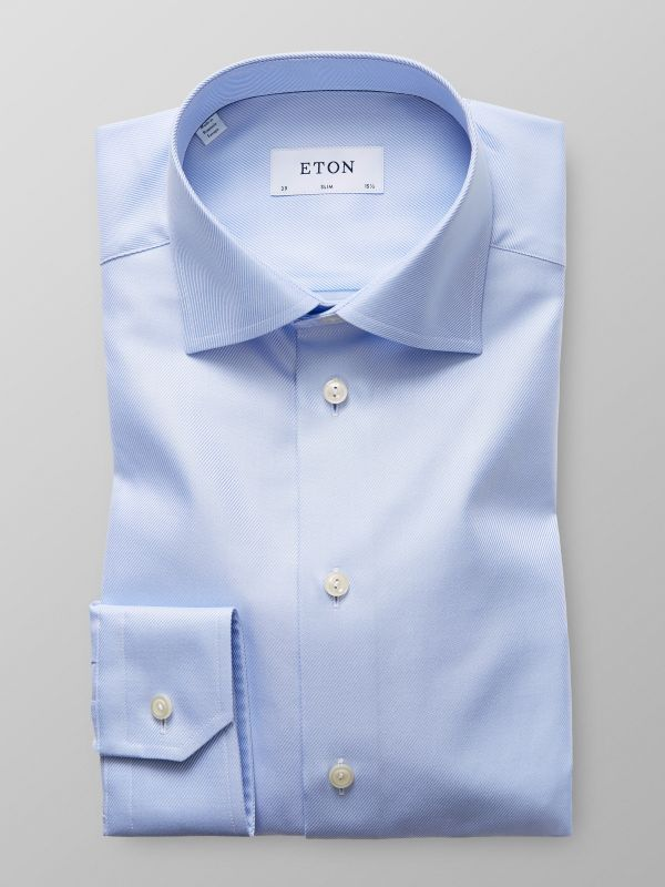 Light Blue Textured Twill Shirt