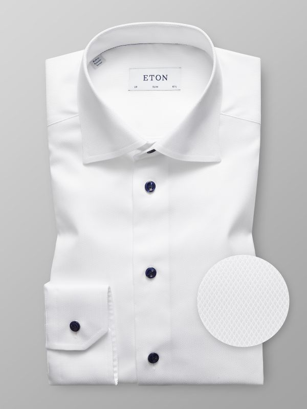 White Twill Navy Buttons Shirt